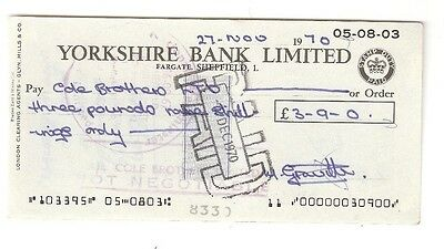 YORKSHIRE BANK LIMITED, cheque issued 1970 Fargate, Sheffield
