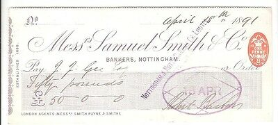 Messrs Samuel Smith & Co established 1688, RARE cheque issued 1891 in Nottingham
