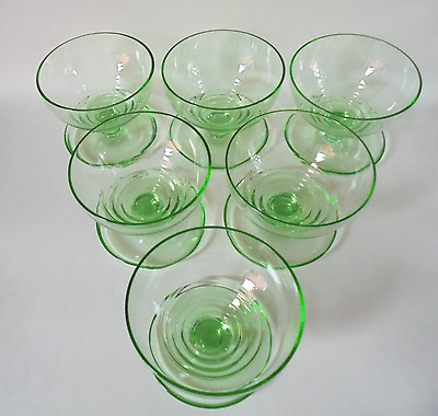 Vintage Uranium Glass Champagne Coupes / Sundae Dishes ~ set of 6 1930's / 40's