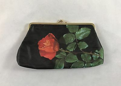 Vintage Black Satiny Fabric Coin Purse Single Rose Flower Golden Seal Germany