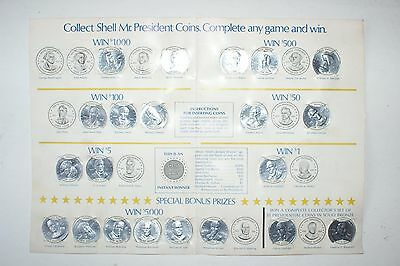 VINTAGE ~ Shell Oil ~  Mr. President Coin Game ~ Card with 21 Coins
