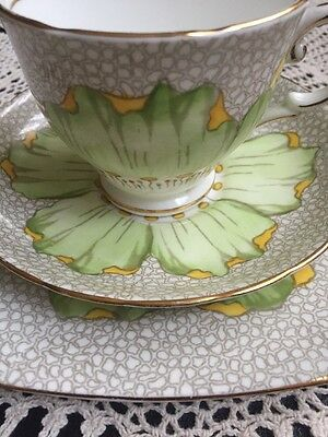 Tuscan Green Flower Trio Cup Saucer Plate