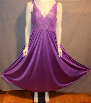 Vintage Shadowline Purple Nylon/Spandex/Lace Nightgown L Large VGC Like Olga