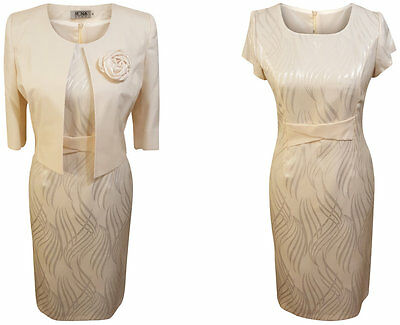 Cream Mother Of The Bride Formal Outfit 2 Piece Jacket Dress Size 12 Wedding