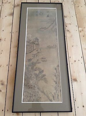 Antique Korean Chinese Landscape People Boats Watercolour Painting Scroll Framed