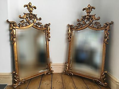 Antique Pair Of Gilt Rococo Carved Wooden Mirrors