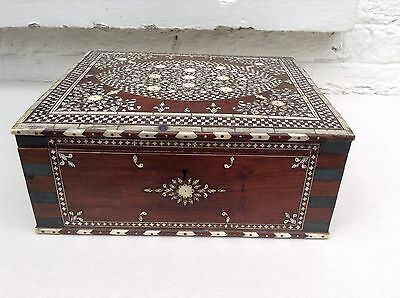Antique 19th Century Ivy Inlaid Indian Casket Hoshiarpur?