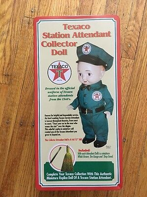 "JMT 13"" Texaco Station Attendant Collector Doll w Access. & Tin Box DOLL MINT"