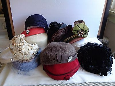 Vintage Ladies Hats Lot 12 Each Evening Church Dress Shopping Outing