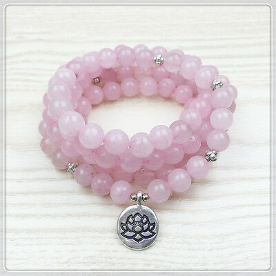 NEW Delicate Rose Quartz Mala Beads Necklace Bracelet with Lotus Flower Prayer