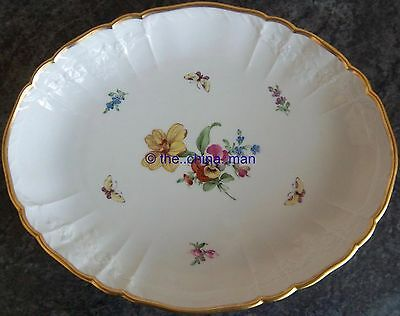 c1900 KPM Berlin porcelain SERVING DISH with handpainted FLOWERS & BUTTERFLIES