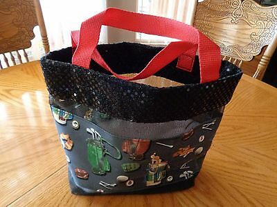 Women Golf Tote Bag  Mesh/Blk Seguins Golf Theme Print On Both Sides Red Strap