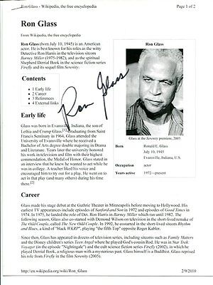 BARNEY MILLER firefly RON GLASS autograph HAND SIGNED  SB2049