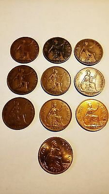ten british one penny coins 1915-1967