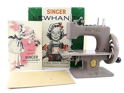 Vintage Singer Sewhandy Sewing Machine Model No. 20 Gray in Box