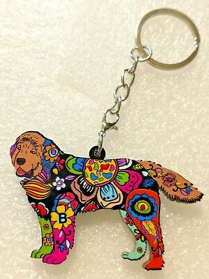 Newfoundland Newfie Dog Pup Key Ring Keychain Purse Dangle Floral Multicolor