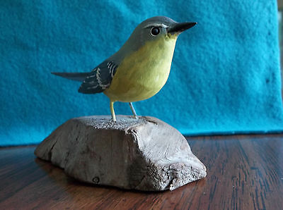 """Finch Bird """"Tol-man"""" Dated 1972 Hand Carved Wood"""