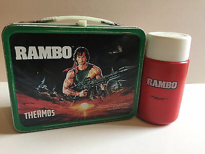 Vintage 1985 Thermos Rambo Metal Lunch Box W/ 10 oz. Thermos Collectible
