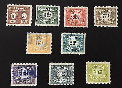 Canada FU 39-47 used : Federal Unemployment Revenue Stamps 1955,CV $15