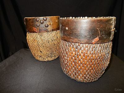 Two Antique Chinese Oriental Vintage Woven Bamboo Willow Baskets w/ WAX STAMP