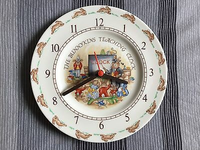 ROYAL DOULTON THE BUNNYKINS TEACHING CLOCK Works Great 8 X 8 Fine China Plate