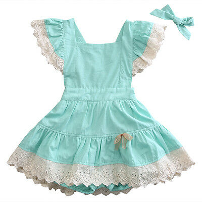 Kids Baby Clothes Girls Lace Ruffles Romper Jumpsuit Outfits Dress 1-2Y YY05