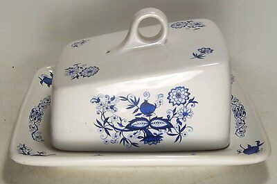 Vintage Blue Onion China Covered Cheese Keeper Price Kensington England #4240