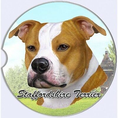 Staffordshire Bull Terrier Sandstone Absorbent Dog Breed Car Coaster