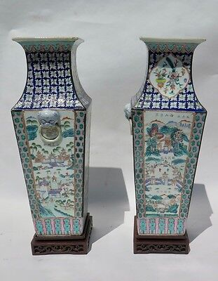 Pair 19th Century Chinese Porcelain Verte Famile Vases Very Large