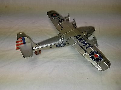 Super Rare Vintage 1940's Chein & Co Tin Wind Up Old Army Airplane Plane Toy !!!