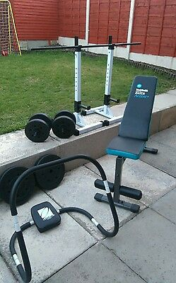 gym bench with stand and 70kg weights