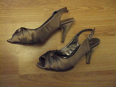 Shoes size 5 by Barratts in coffee colour with adjustable strap & peep toe