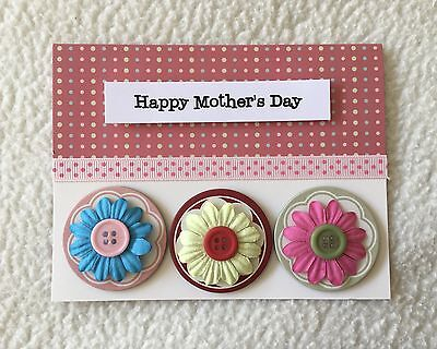 Handmade Happy Mother's Day Greeting Card with Flowers and Ribbon