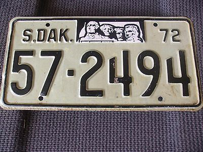 1972 South Dakota License Plate Vintage '72 Sd License Mount Rushmore Plate