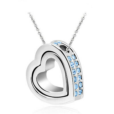 Fashion Women Double Heart Blue Crystal Charm Pendant Chain Necklace Silver ZW71