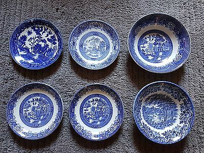 Vintage Blue Willow,Mixed lot,Woods Ware,Churchill, 4 Sauces, 2 Bowls.