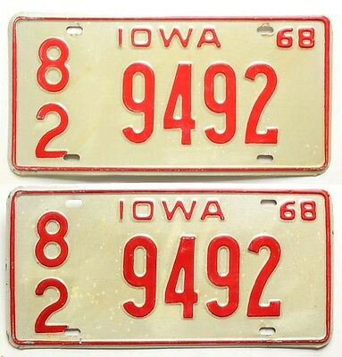 Iowa 1968 License Plate Pair 9492 Davenport IA Scott County for Ford Chevy Dodge