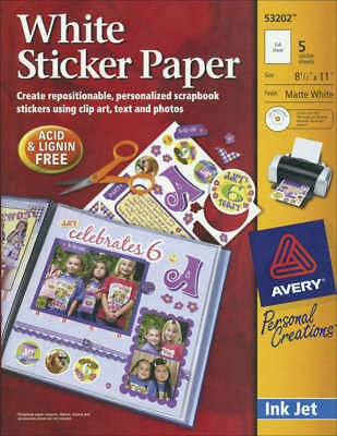 "Ink Jet Sticker Paper W/CD 8.5""X11"" Matte White 5/Pkg 532-02"