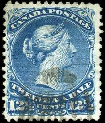 Canada #28 used F-VF 1868 Queen Victoria 12 1/2c blue Large Queen Cork CV$110.00