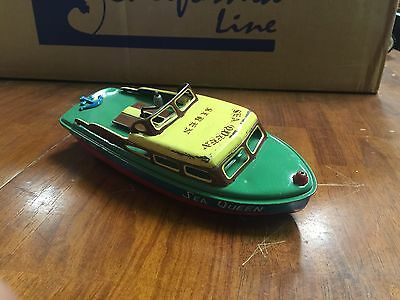 Vintage Tin Wind Up Boat Made It Japan 10 Inches Long