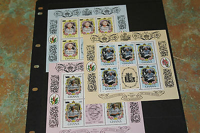 Ghana 1985  Queen Mothers 85Th Birthday  M/sheet X 3 O/printed 1990 Fine M/n/h