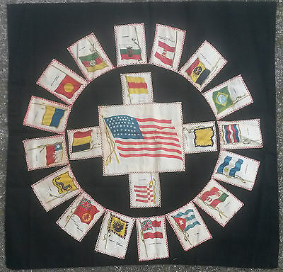 Tobacco silks pillow cover - cigarettes, world flags, ca. 1910, vintage