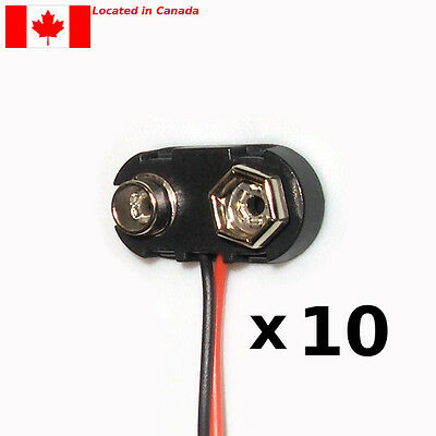 """9 Volt Snap On 9V Battery Clip Connector T-Type Hard Top 6"""" Lead Wires. 10pcs."""