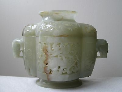 Antique 19th Century Qing Dynasty CHINESE lobed celadon JADE CENSER w RAM heads