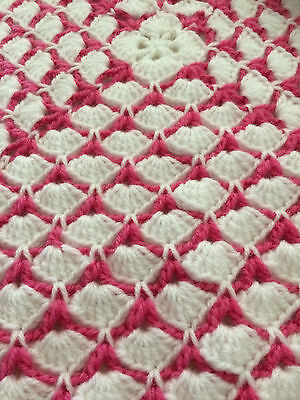 Handmade Crochet/Knitted Baby Blanket - GIFT - girl Pink and white