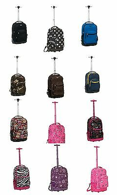 """Rockland R02 19"""" Rolling Backpack Carry On Luggage Bag Case Polyester"""