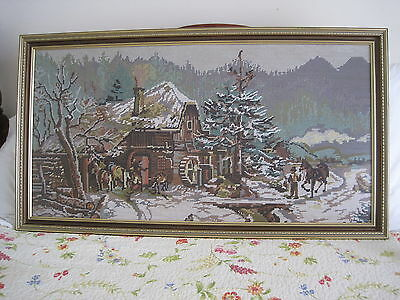 Framed Tapestry Picture - Snowy Tavern Scene