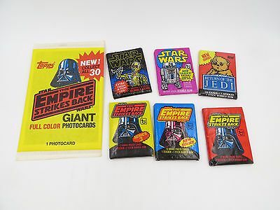 Vintage TOPPS STAR WARS UNOPENED WAX PACKS Lot of 7 Packs from Various Sets