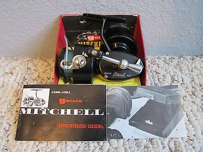 Vintage Garcia Mitchell 300 Fishing Spinning Reel With Box