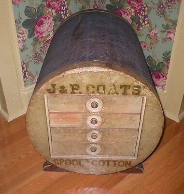 Antique J & P COATS SPOOL CABINET THREAD DISPLAY CASE RARE PICK UP ONLY